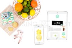 Styled Stock Photography by Promising Frost | Product Mockups for Businesses | Citrus Fruits, Copper Fruit Basket and Sparrow Cookie Cutter, Wood Cutting Board, San Pellegrino Sparkling Mineral Water, Lemon Cookies, Tech Devices (iPad 2 and iPhone 6)