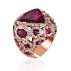 The AGTA Daily Gem: A daily showcase of beautiful gemstones and jewelry from our AGTA Members! Today, we are showcasing this beautiful 18K rose gold ring featuring a 14.74 ct. rubellite Tourmaline and accented with Diamonds and rubellite Tourmaline from AGTA Member, BHOJWANI. #AGTA #AGTAMember #BuyAGTA @bhojwaniofficial