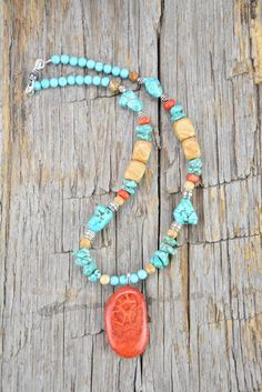 Coral, Turquoise, Picture Jasper Necklace & Earrings by JustBeadHappy2 on Etsy https://www.etsy.com/listing/459610188/coral-turquoise-picture-jasper-necklace