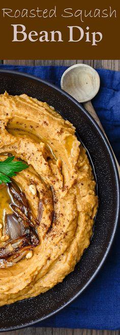 hummus | bean dip | roasted squash | chips and dip | healthy | skinny | acorn squash | spicy