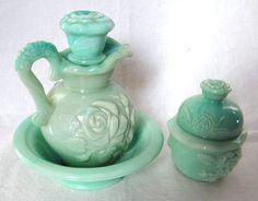 Avon Green Milk Glass 5 pc Vanity Set FOSTORIA Victorian Rose JADE Dresser VTG #Avon #Victorian