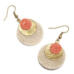 Sisal and Brass Circle Earrings, Beige & Coral: Handmade in Swaziland
