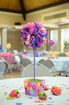 Made this ribbon ball as a centerpiece for my daughter's 1st birthday.