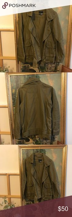 Aritzia Wilfred Free Army Green Jacket Wilfred free canvas jacket. Size xxs but fits oversized with slopes shoulders. Gorgeous green color! Great layered over sweaters. Retails $235  #wilfredfree #wilfred #aritzia #cargojacket #camojacket #cargo #canvasjacket #greenjacket #lightweightjacket Aritzia Jackets & Coats