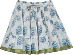 This is a cool summer cotton skirt with blue and silver floral prints all around and a golden brocade ribbon on the hem. This three tier white cotton skirt with fresh prints and golden lace will be the perfect for summers. #tlb #TieredSkirt #Floral #Printed #SummerShortSkirt #FloralGirlsSkirt