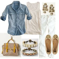 light chambray, white, naturals and bits of yellow. Accessorize with vintage pieces