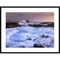 "Global Gallery Waves and Surf at Wawaloli Beach the Big Island, Hawaii by Tim Fitzharris Framed Photographic Print Size: 30"" H x 38"" W x 1.5"" D"