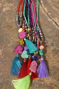Boho Silk Tassel Jewelry by BohoCircus Tassel Jewelry, Gypsy Jewelry, Beaded Jewelry, Jewelery, Fabric Necklace, Boho Necklace, Boho Gypsy, Hippie Boho, Diy Clothes To Sell