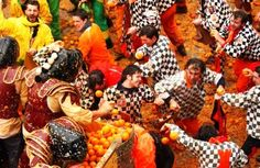 The Battle of the Oranges in Ivrea Italy