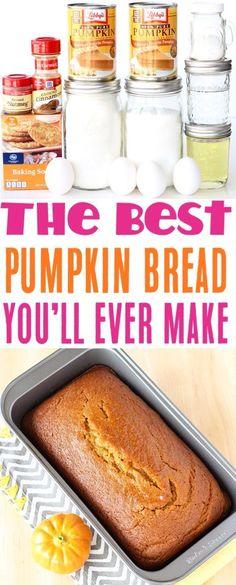 World's Best Pumpkin Bread Recipe! {Easy} - The Frugal Girls Dessert Bread, Dessert Recipes, Desserts, Breakfast Recipes, Easy Bread Recipes, Cooking Recipes, Pumpkin Recipes, Pumpkin Spice, Starbucks Pumpkin Bread