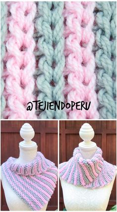 """Bufanda tejida a en punto elástico Bufa""""tricot"""" Paso a paso en vídeo tutorial 😃 Crochet Cowel, Crochet Ripple, Love Crochet, Crochet Scarves, Crochet Motif, Double Crochet, Crochet Stitches, Crochet Patterns, Crochet Neck Warmer"""
