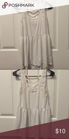 White detailed tank LAce straps and white straps across back Chloe K Tops Tank Tops