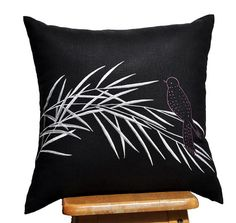 "Silver Bamboo Throw Pillow Cover - 18"" x 18"" Decorative Pillow Cover - Black Linen"