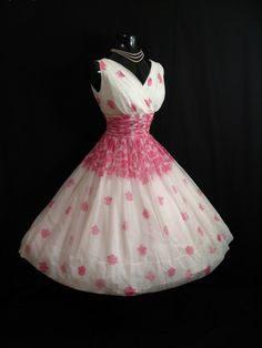 Vintage   50s PINK White Floral Print Chiffon Organza Party DRESS