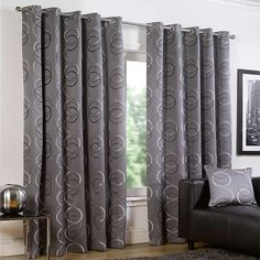 Emma Barclay Quebec Circle Print Eyelet Lined Curtains, Silver, 90 x 90 Inch Silver Curtains, Lined Curtains, Drapery, Classy, Make It Yourself, Bedroom, How To Make, Quebec, Home Decor