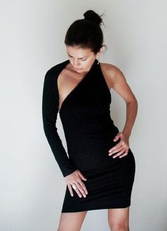 Little Black Dress / One Shoulder Dress / Black Dress / Prom Dress / Cocktail Dress / Unique Designer Dress / marcellamoda - MD002