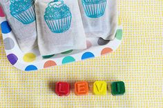 So fun! Personalized name crayons as birthday party favors from @PJ | Bunny & Dolly
