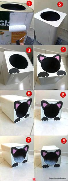 Easy to do recycling crafts - Gute Ideen - .- Fácil de fazer artesanato de reciclagem – Gute Ideen – Easy to do recycling crafts – Gute Ideen – - Diy Cat Bed, Diy Bed, Diy Cats, Cat Crafts, Diy And Crafts, Diy Furniture Tutorials, Do It Yourself Decoration, Grands Pots, Ideias Diy