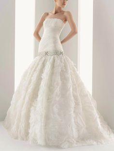 Sheath/Column Organza Strapless Natural Waist Sweep/Brush Train Wedding Dress #weddingdress #wedding