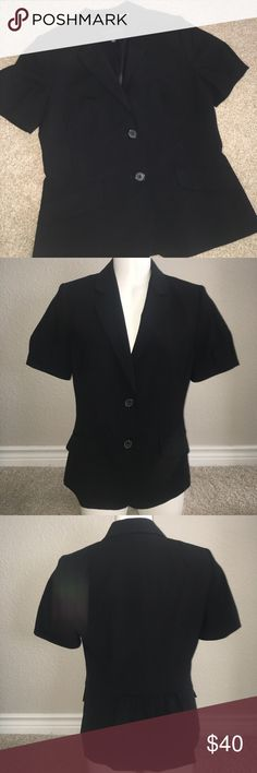 Banana Republic Jacket Wool Blazer Black Size 6 Worn once short sleeve shirt sleeve blazer.  Front two pockets are actually pockets.  Fully lined with shoulder pads.  length is 23 1/2 inches measured from top to bottom.  Sleeves are 9 inches. Banana Republic Jackets & Coats Blazers