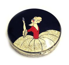 This stylish 1920s white painted metal compact is offered by Gillian Horsup Vintage Jewellery: http://www.gillianhorsup.com/index.php