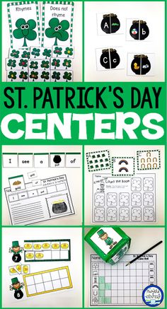 St. Patrick's Day Centers for kids in PreK-Kindergarten. Math and language games for classrooms plus a FREEBIE.