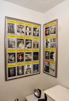 "I have never seen a display of playbills.  These look great!  You could go back in your mind to see the play ""again"" in your mind.  Cool!"