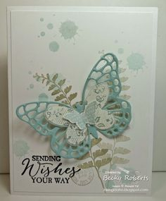 Finally the Butterflies Thinlits are available to order. Don& miss the special that Stampin& Up! is offering as a thank you for being so patient now through April After a (very) long migrati Pretty Cards, Cute Cards, Diy Cards, Stampin Up Karten, Stamping Up Cards, Rubber Stamping, Get Well Cards, Mothers Day Cards, Butterfly Cards
