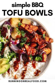 Make these delicious BBQ tofu bowls for a quick dinner everyone will love! Just 6 ingredients needed! Vegan Barbecue, Bbq Tofu, Healthy Vegan Breakfast, Healthy Eating, Vegan Recipes Easy, Real Food Recipes, Make Ahead Lunches, Vegan Meal Prep, Vegan Dinners