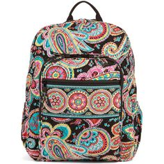 Vera Bradley Campus Backpack in Parisian Paisley ($109) ❤ liked on Polyvore featuring bags, backpacks, accessories, parisian paisley, paisley bag, pocket backpack, knapsack bags, cross bag and rucksack bag
