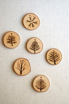 Tree Branch Christmas Ornaments - Wood Burned Trees and Snowflakes.