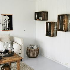 Apple crate shelves inspiration: Easy and stylish! (in Norwegian)