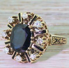 Art Deco 3.50 Carat Sapphire & Diamond Enamelled Ring, circa 1920 by GatsbyJewels on Etsy https://www.etsy.com/listing/272240328/art-deco-350-carat-sapphire-diamond