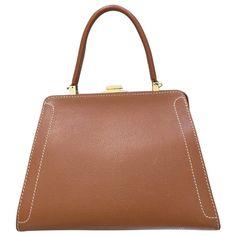 7da3da0e76ed camel Plain Leather DELVAUX Handbag - Vestiaire Collective