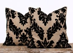 Burlap Damask Pillow Covers Flocked Linen Pillow by LilyPillow, $30.00
