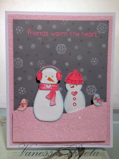Lawn Fawn card using Making Frosty friends stamp set and lots of glitter!