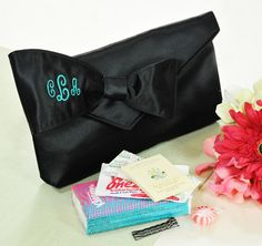*Bridesmaid Clutch with Survival Kit*  This is one wedding detail your bridesmaids won't want to go without. Inside this trendy clutch you will find survival accessories such as two band aids, four bobby pins, towelette, matchbox style sewing kit, breath mint and travel size Kleenex pack. #theweddingoutlet