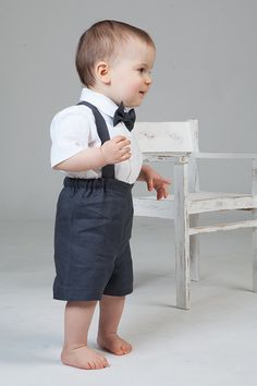 Kids boy natural linen suit baby boy clothes first by Graccia