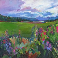 Just Landscape Animal Floral Garden Still Life Paintings by Louisiana Artist Karen Mathison Schmidt: Colorado Summer contemporary impressionist oil painting of a Colorado wildflower landscape with mountains and a lake