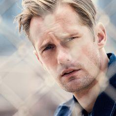 Mr Alexander Skarsgård for MR PORTER wearing Paul Smith Denim Jacket.