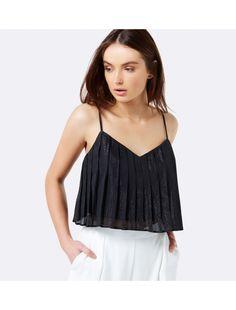 Teresa Metallic Pleated Cami Black - Womens Fashion   Forever New