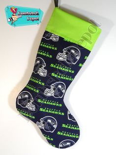 Seattle Seahawks Fully Lined Christmas Stocking Seahawks Memes, Seahawks Football, Seattle Seahawks, Christmas Time, Christmas Ideas, Christmas Gifts, Christmas Decorations, Sport Themed Crafts, Sewing Crafts