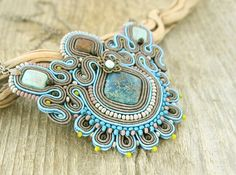 Blue soutache necklace grey beadedd necklace blue by pUkke on Etsy