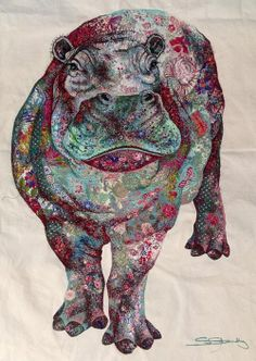 My Owl Barn: Sophie Standing: Textile Embroidery Art - hippo Textile Fiber Art, Textile Artists, Illustrations, Illustration Art, Frida Art, Creative Textiles, Thread Painting, Thread Art, Animal Quilts