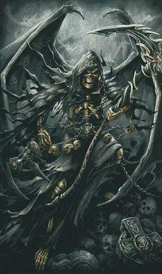Angel of Death, drape mood Death Reaper, Grim Reaper Art, Grim Reaper Tattoo, Don't Fear The Reaper, Dark Fantasy Art, Fantasy Artwork, Dark Art, Art Zombie, Totenkopf Tattoos