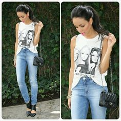 T-SHIRT: Forever21 JEANS: Zara SHOES: Nasty Gal BAG: Chanel