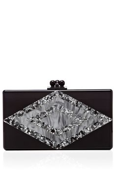 Edie Parker Black Acrylic Jean Clutch With Silver Confetti Diamond Decal