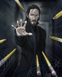( I once saw him kill 300 agents in a computer simulation ✏️ . Check out for some of the coolest John Wick and pop culture art you've ever seen. We're running out of walls at the range because this man just can't stop! John Wick Hd, John Wick Movie, Keanu Reeves John Wick, Keanu Charles Reeves, Baba Yaga, Caricatures, Geeks, Pop Culture Art, Comic Pictures