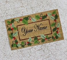 Miniature Christmas Doormat With Name or Words of by GreenGypsies