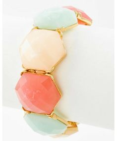 442759 Gold Tone / Multi Color Acrylic / Lead&nickel Compliant / Stretch Bracelet
